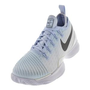 Women`s Air Zoom Ultra React Tennis Shoes Hydrogen Blue and Metallic Dark Gray