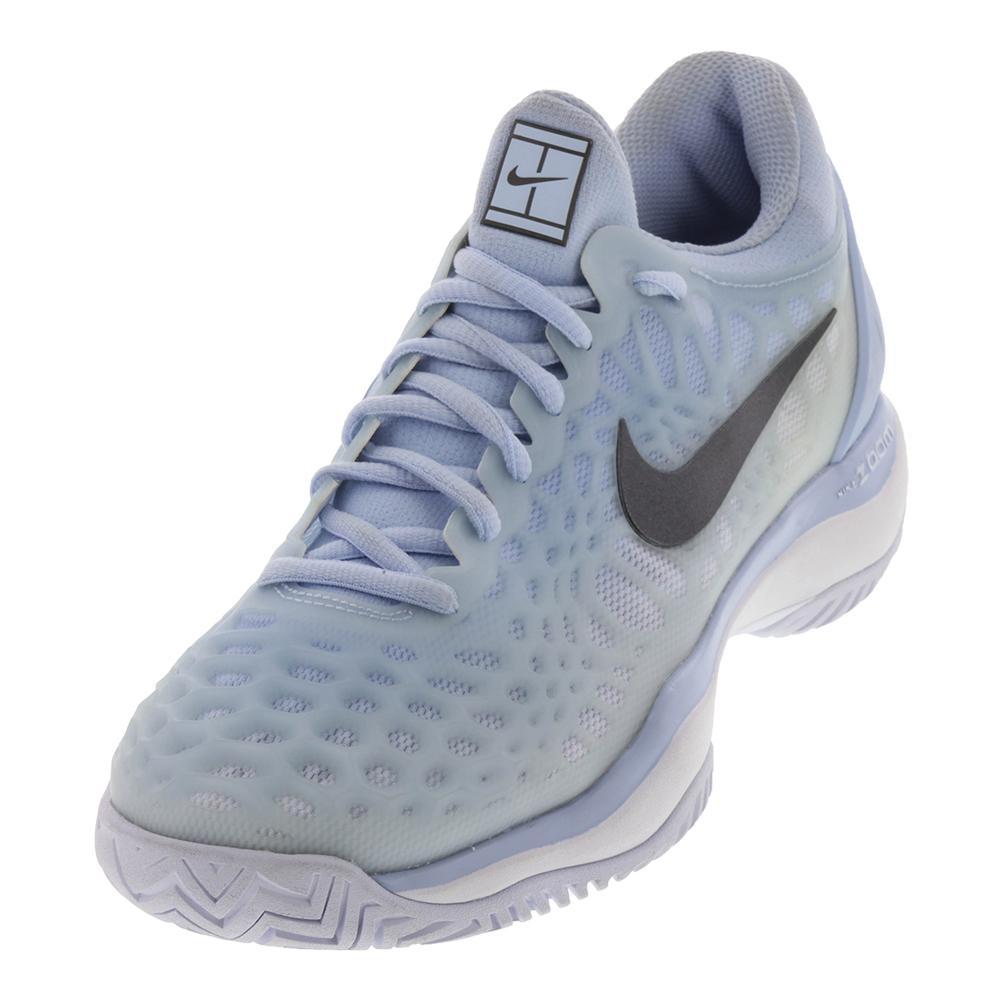 NIKE NIKE Women\u0027s Zoom Cage 3 Hc Tennis Shoes Hydrogen Blue And Metallic  Dark Gray