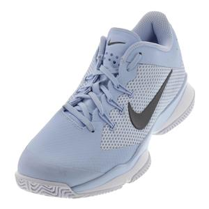 Women`s Air Zoom Ultra Tennis Shoes Hydrogen Blue and Metallic Dark Gray