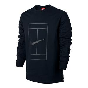 Men`s Court Fleece Long Sleeve Tennis Crew Black