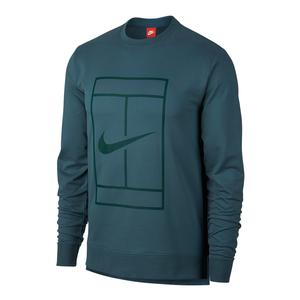 Men`s Court Fleece Long Sleeve Tennis Crew Iced Jade
