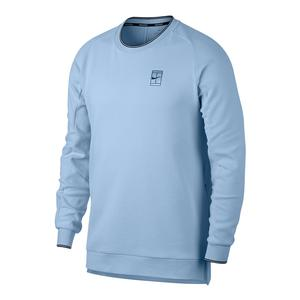 Men`s Court Baseline Long Sleeve Tennis Top Hydrogen Blue