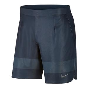 Men`s Ace Tennis Short Thunder Blue and Dark Gray