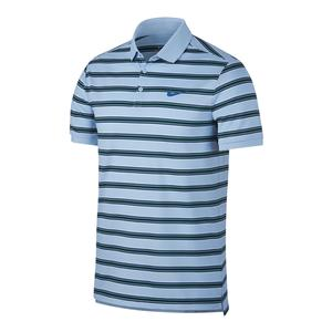 Men`s Court Dry Stripe Tennis Polo Hydrogen Blue and Mega Blue