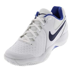 Men`s Air Zoom Resistance Tennis Shoes White and Binary Blue