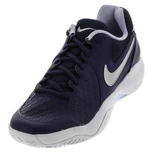 Men`s Air Zoom Resistance Tennis Shoes Midnight Navy and Metallic Silver