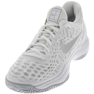Women`s Zoom Cage 3 HC Tennis Shoes White and Metallic Silver