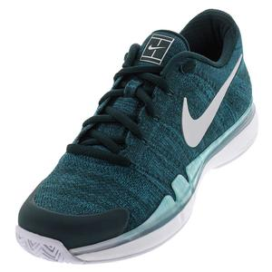 Men`s Air Zoom Vapor Flyknit Tennis Shoes Dark Atomic Teal and Metallic Silver