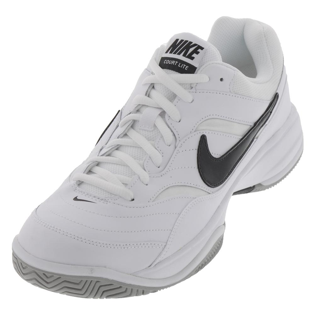 Men's Court Lite Wide Tennis Shoe White And Black