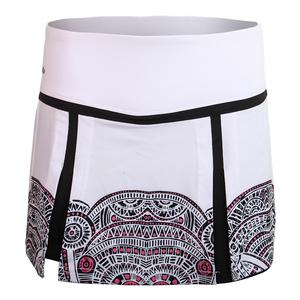 Women`s Aztec Graphic 13.5 Inch Tennis Skort White