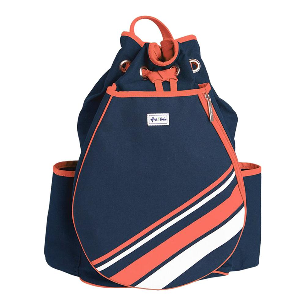 Women's Parker Tennis Backpack Coral And White Stripe