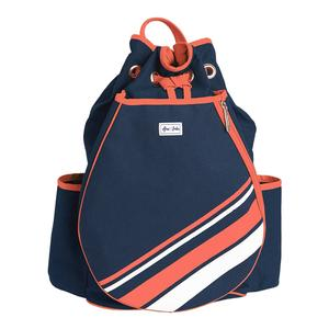Women`s Parker Tennis Backpack Coral and White Stripe