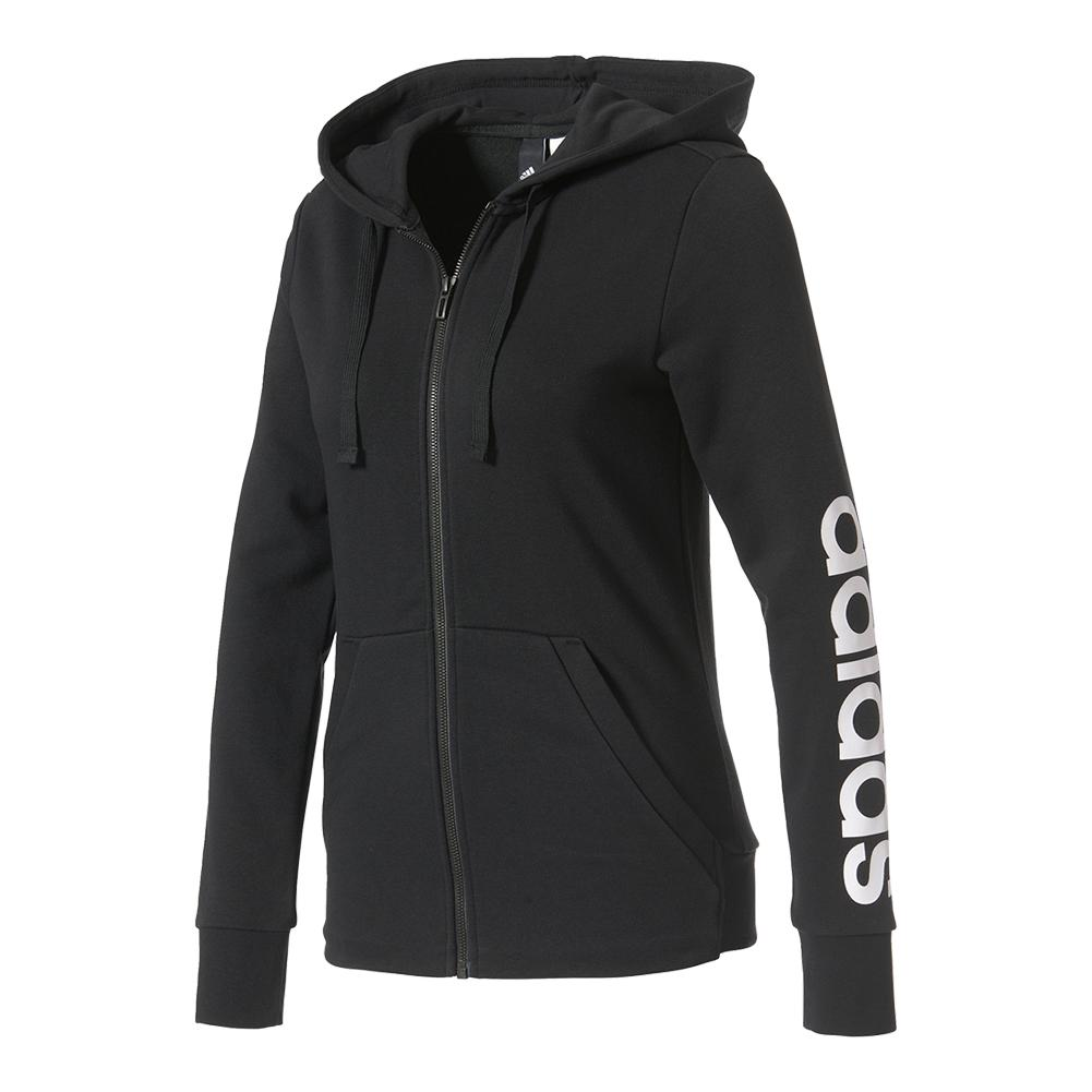 Women's Essentials Linear Full Zip Hoodie Black And White