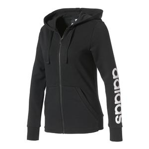 Women`s Essentials Linear Full Zip Hoodie Black and White