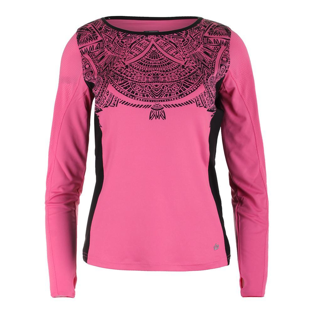 Womens Aztec Long Sleeve Graphic Tennis Top Blush