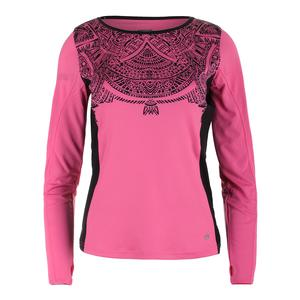 Womens Aztec Long Sleeve Graphic Tennis Top Blush