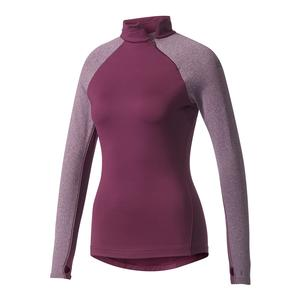 Women`s Techfit Long Sleeve Turtle Neck Top Red Night