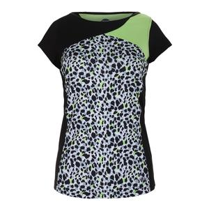 Women`s Primal Instinct Graphic Cap Sleeve Tennis Top Black