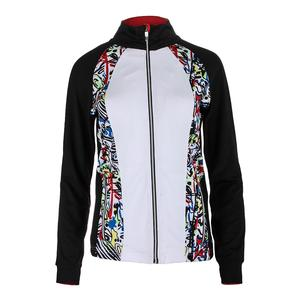 Women`s Graffiti Graphic Tennis Jacket White and Black