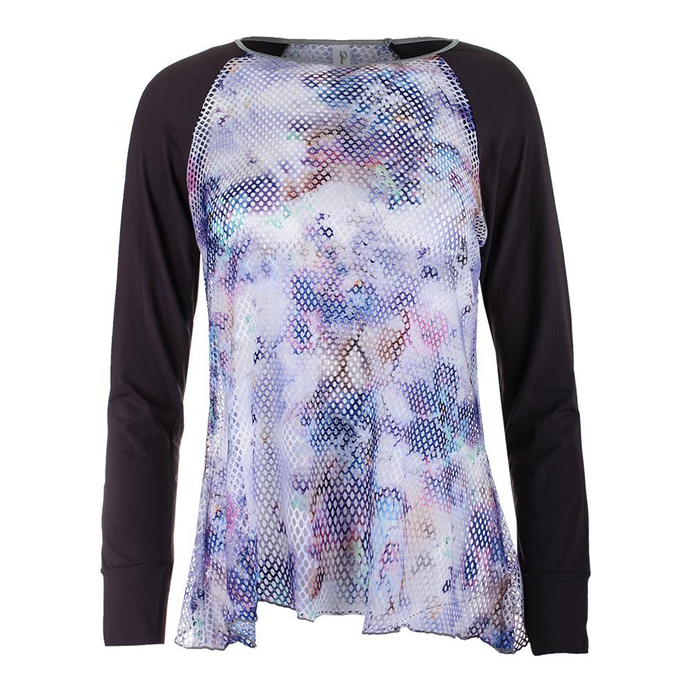Women's Long Sleeve Sheer Body Tennis Top Violet And Print