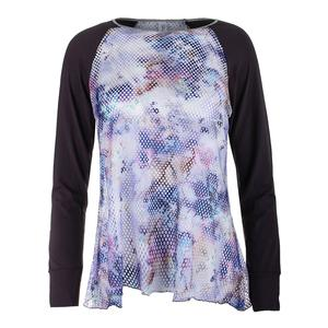 Women`s Long Sleeve Sheer Body Tennis Top Violet and Print