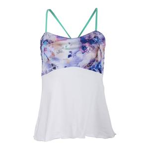 Women`s Spaghetti-Strap Tennis Top White and Print