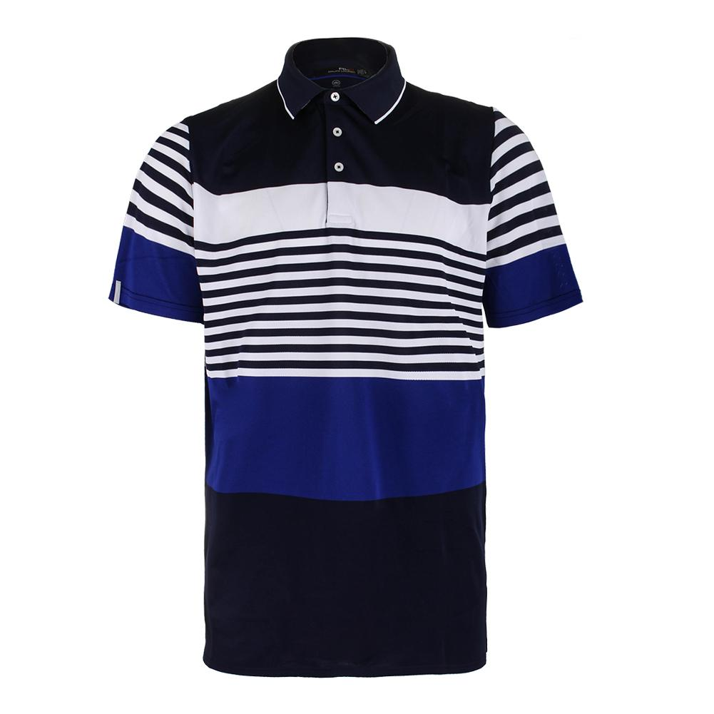 Men's Engineered Stripe Polo Deauville Navy And Speed Royal