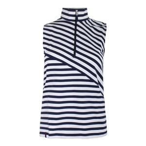 Women`s 1/2 Zip Stripe Sleeveless Top French Navy and Pure White