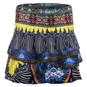 Women`s Long Audacity Ruched Scallop Tennis Skort Print