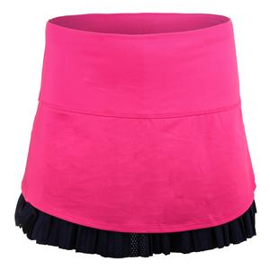 Women`s Long Drop Pleat Tennis Skort Shocking Pink and Midnight Navy