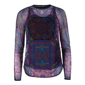 Women`s Eros Long Sleeve Mesh Tennis Crew Print