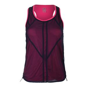 Women`s Mesh Layered Bungee Tennis Tank Midnight Navy