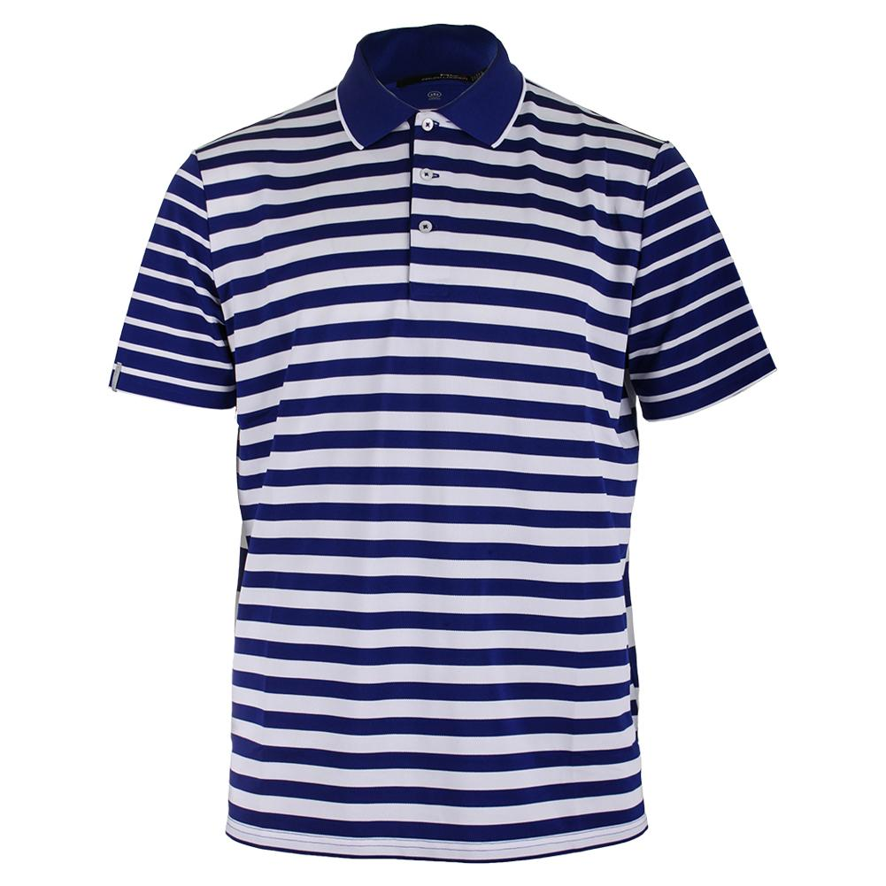 Men's Engineered Stripe Polo Speed Royal And Pure White