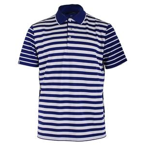 Men`s Engineered Stripe Polo Speed Royal and Pure White