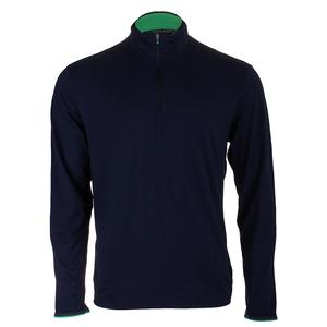 Men`s Lightweight Long Sleeve Half Zip Top French Navy