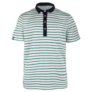 Men`s Multi Stripe Airflow Polo Pure White and New Garden