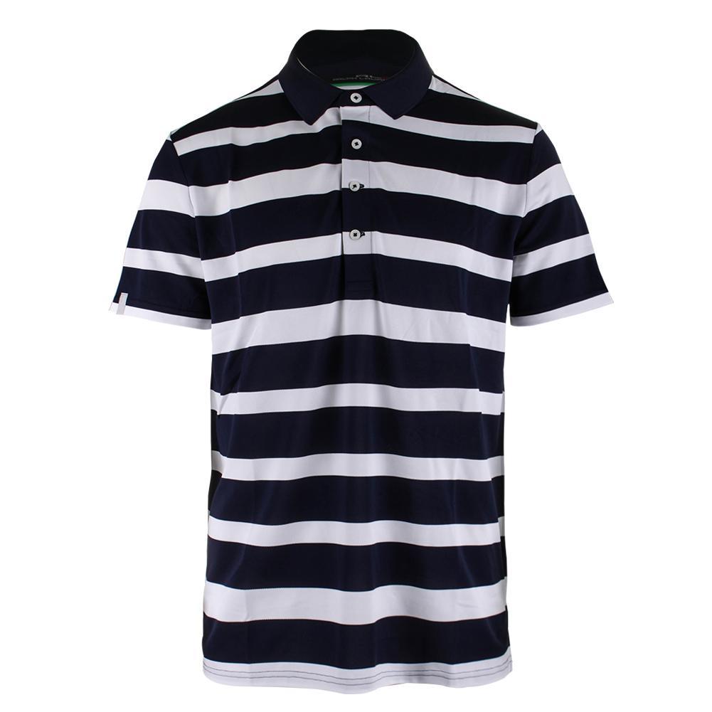 Men's Stripe Tech Pique Polo Pure White And Deauville Navy