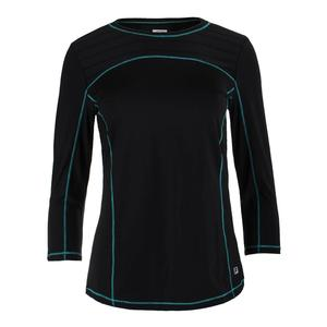 Women`s Court Allure Bracelet Length Tennis Top Black and Tabitha Teal