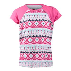 Girls` Moroccan Impressions Cap Sleeve Tennis Top White and Sugar Plum