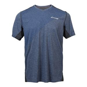 Men`s Performance V Neck Tennis Tee Heather Blue