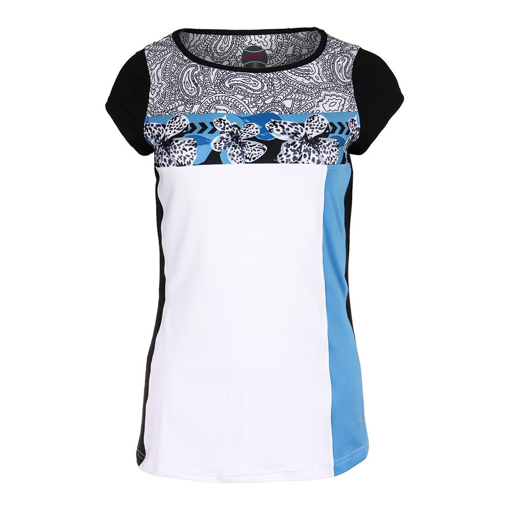 Women's Paisley Petal Cap Sleeve Tennis Top White And Azure