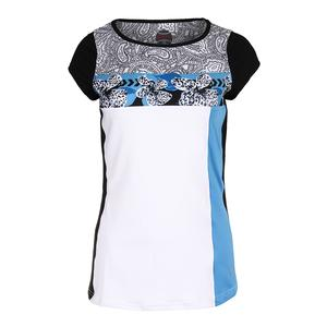 Women`s Paisley Petal Cap Sleeve Tennis Top White and Azure