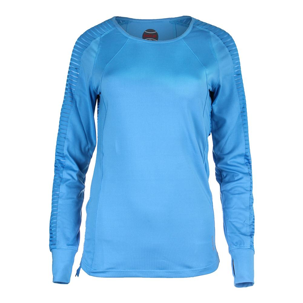 Women's Paisley Petal Long Sleeve Tennis Top Azure