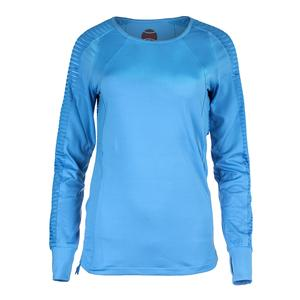 Women`s Paisley Petal Long Sleeve Tennis Top Azure