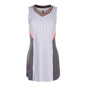 Women`s Game Day Tennis Dress White Pinstripe and Charcoal Heather