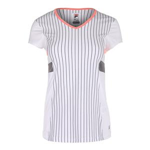 Women`s Game Day Short Sleeve Tennis Top White Pinstripe
