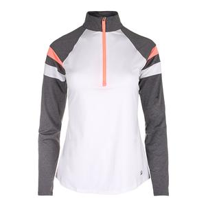 Women`s Game Day Half Zip Tennis Top White and Charcoal Heather
