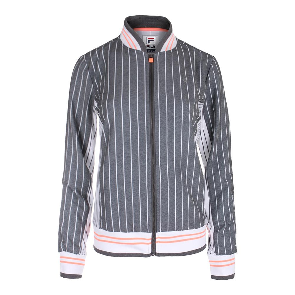 Women's Game Day Tennis Jacket Charcoal Heather Stripe