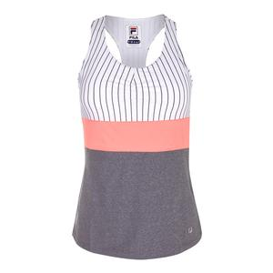 Women`s Game Day Racerback Tennis Tank White Pinstripe and Charcoal Heather