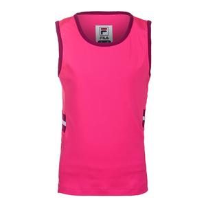 Girls` Abstract Court Tennis Tank Wild Strawberry